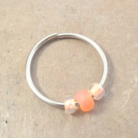 Peachy Orange Beaded Cartilage Hoop Earring Septum Tragus Nose Ring Upper Ear Piercing 20 GaugePink