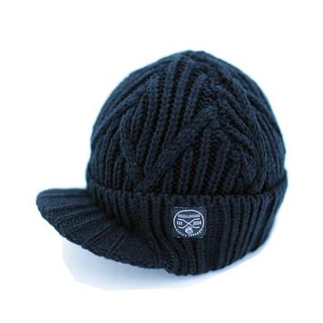 Knuckleheads Black Boy's Baby Visor Beanie Hat with Stripes Detail, Black Cable Knit