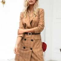 Simplee Grid Double Button Blazer Dress Without Belt