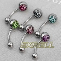 6 Leopard Print Surgical Steel Barbell Navel Belly Button Ring Bar Body Piercing