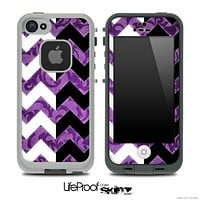 Purple Lace & Black/White Chevron Pattern Skin for the iPhone 5 or 4/4s LifeProof Case