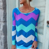 Multi Colored Chevron Top