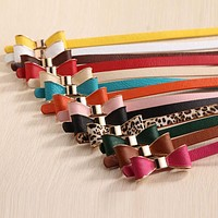 2017 Style Summer 13 Color Women Belt Luxury Brand Colorful Belts for Women Bow Leather Belt Female Waist Ceinture Femme