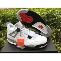 Air Jordan 4 Retro White Cement White/Fire Red-Black-Tech Grey AJ4 Sneakers