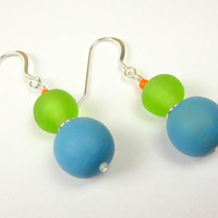 Vintage Inspired Sky Blue & Lime Green Baubles Handmade Resin Bead Earrings w/ Sterling Silver accents and Earwires - Hard Candy Collection