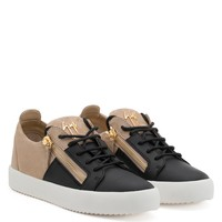 Giuseppe Zanotti Gz Double Black Calf Leather And Beige Suede Low-top Sneaker
