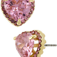 PINK GOLD CRYSTAL PAVE HEART STUD