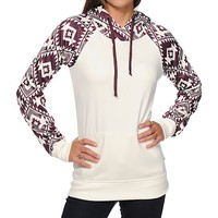 Empyre Frosty Burgundy Tribal Tech Fleece Hoodie