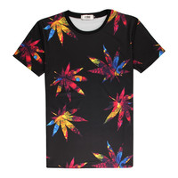 Fashion Weed Leaf Colored 3D Print T-shirt maple leaves Cotton Unisex Costume Te