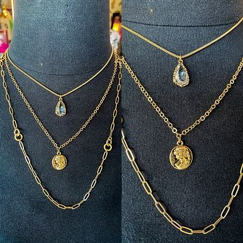 Princess Gold Chain Necklace- Set Of 3 Layered Necklace- Clear Tear Drop Pendant- Princess Coin Pendant