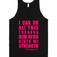 Pink Inspirational Philippians 4:13 (with a white underbase)-Tank