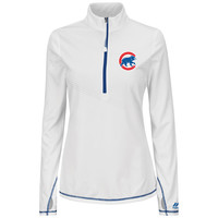 Chicago Cubs Athletic Concept Quarter Zip Top, White/Deep Royal, Small