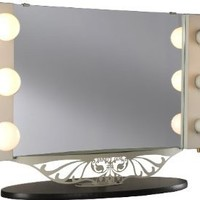 """Starlet Table Top Lighted Vanity Mirror 34"""" x 23"""" - Taupe Frame, Black Surface"""