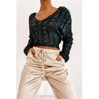 Keep It Luxe Cropped Metallic Sweater (Black)