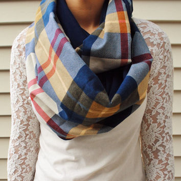 Plaid scarf, Warm Scarf, Plaid flannel scarf