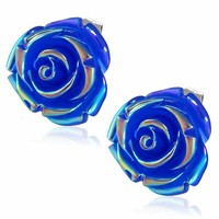 Large Blue Rose Stud Earrings For Woman