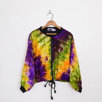 tie-dye jacket, crop bomber jacket, crop jacket, purple green yellow, 90s jacket, 90s grunge jacket, hippie jacket, festival jacket, m l