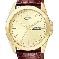Citizen Quartz Mens Day/Date Strap Watch - Champagne Dial and Gold-Tone Case