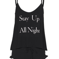 WILDFOX Up All Night Cami Black Pajama set with print - Lingerie & Co.