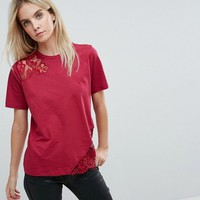 ASOS PETITE T-Shirt with Lace Detail at asos.com