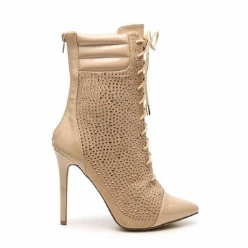 Lexi Nude Rhinestone Lace Up Pointy Toe Ankle Booties