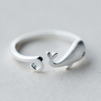 cute whale ring adjustable +gift Box 169