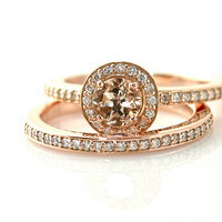 14K Morganite Engagement Ring & Wedding Band Diamond Halo Morganite Ring Rose Gold Palladium Platinum 18K Wedding Set