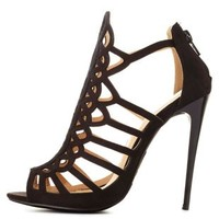 Black Laser Cut-Out Caged High Heels by Charlotte Russe