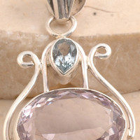 Spectacular Pink Amethyst/ Blue Topaz Pendant in 925 Sterling Silver