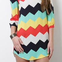 Summer Rainbow Chevron Dress