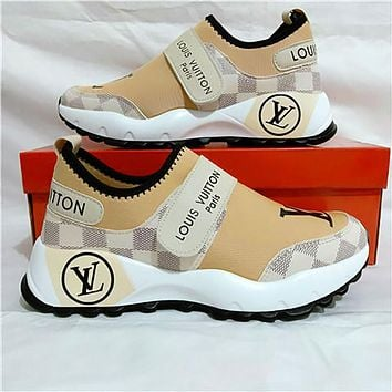 LV Louis Vuitton Women Shoes Velcro Toes Letters With Shoes Tail Letters Sneakers