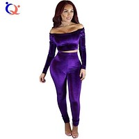 Fashion Off Shoulder Long Sleeve Women Jumpsuit Two Pieces Set Sexy Rompers Outfits Slim Crushed Velour Rompers