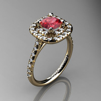 French 14K Yellow Gold 1.0 Ct Ruby Diamond Engagement Ring R1028-14KYGDR