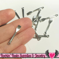 Antique Silver Tiny Fork Charms (20 pieces) 25x5mm