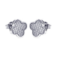 .925 Sterling Silver Micro Pave Clear Clove Earring