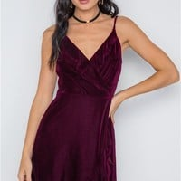 Velvet Surplice Mini Dress | Burgundy