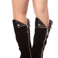 Black Faux Suede Knee High Zipper Accent Rider Boots
