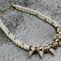 Rope Statement Necklace. Silk Rope,white loose Crystals, Rhine stoned gold plated Spikes & Rings.