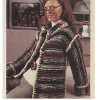 Knitted Long CARDIGAN Pattern Vintage 70s Knitting Pattern Jacket Pattern Coat Pattern Sweater Pattern Instant Download