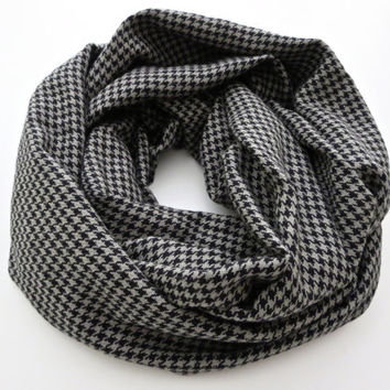 Houndstooth Slate and Black Scarf- Soft Flannel Infinity Scarf