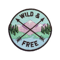 Wild & Free Quote - Embroidered Patch / Iron-On Applique