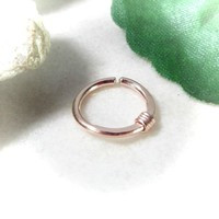 Pink Gold Nose Ring Pink Gold Hammered & Wrapped