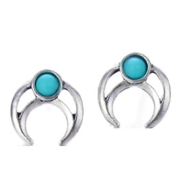 Crescent Totem Turquoise Stud Earrings