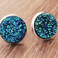 Druzy earrings-blue green silver tone stud druzy earrings