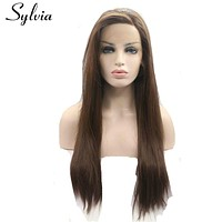 sylvia 6# color natural brown silky straight synthetic lace front wigs with bangs heat resistant fiber hair for white woman