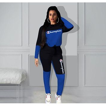 Champion Fashion Women Casual Print Sweater Pants Set Two-Piece Sportswear blue