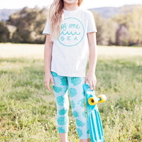 Kid's Light Blue T-Shirt with Logo in Mint