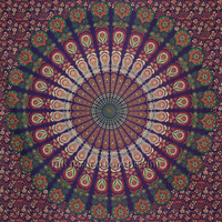 Multicolor Bird Wings Psychedelic Bohemian Hippie Tapestry Bedspread on RoyalFurnish.com