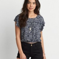 AEO Flowy Peasant Top , Rust   American Eagle Outfitters