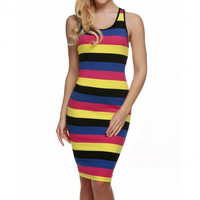Fashion Women Sleeveless Stripe Casual Dress Sundress